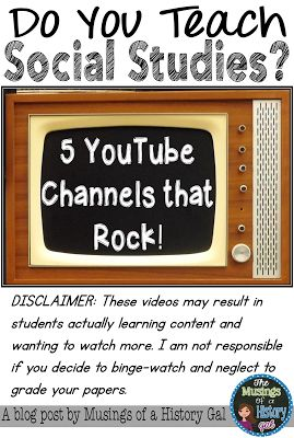 What student doesn't like watching videos? This post has a list of of top 10 YouTube channels for middle and high school social studies classes. Find great topics for U.S. History, World History, Economics, Governments, and even Psychology. Your 6th, 7th, 8th, 9th, 10th, 11th, 12th grade, and home school kids will stay engaged in the videos you will find with these links. It's a great way to integrate technology into your lesson. {sixth, seventh, eighth, ninth, tenth, eleventh, twelfth}