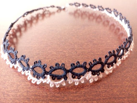 Black and Beige Tatted Choker Romantic Tatted by EstaTatting