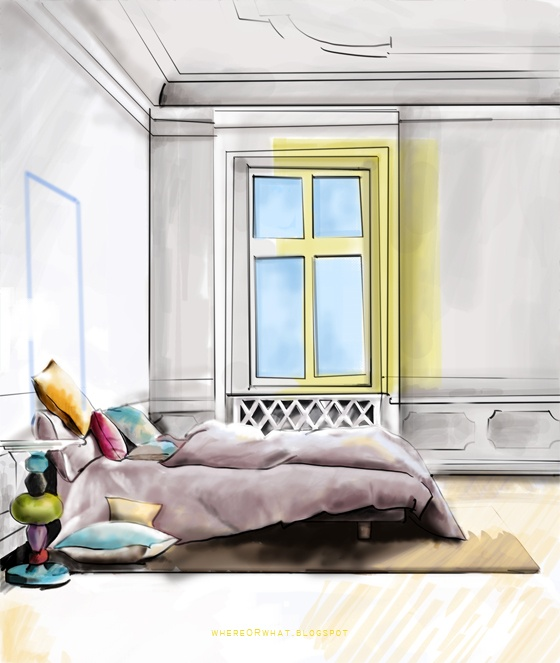 interior illustration by julie nice use of yellow to show the sunlight coming into the