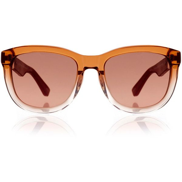 The Row Gradient Orange and Burgundy Leather Wayfarer (€160) ❤ liked on Polyvore featuring accessories, eyewear, sunglasses, glasses, occhiali, orange, gradient sunglasses, leather wayfarer, orange wayfarer sunglasses and wayfarer style sunglasses