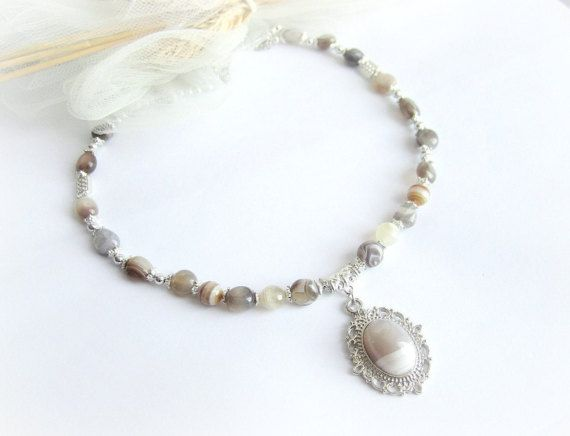 Agate beaded necklace brazilian agate by MalinaCapricciosa on Etsy
