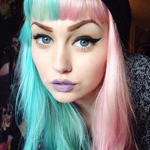 Half Pink And Half Blue Pastel Hair With Short Front Bangs