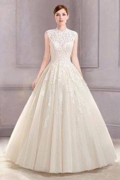 Wedding Dress Ball Gown Court Train Tulle Jewel Illusion Sweetheart with Applique Cascading to the Skirt