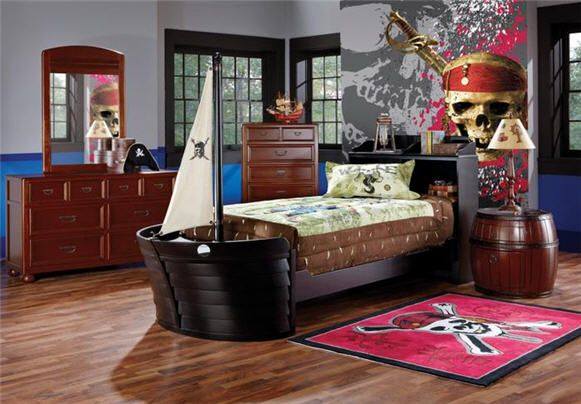 Pirates of the caribbean room at rooms to go movie tie for Boys pirate bedroom ideas