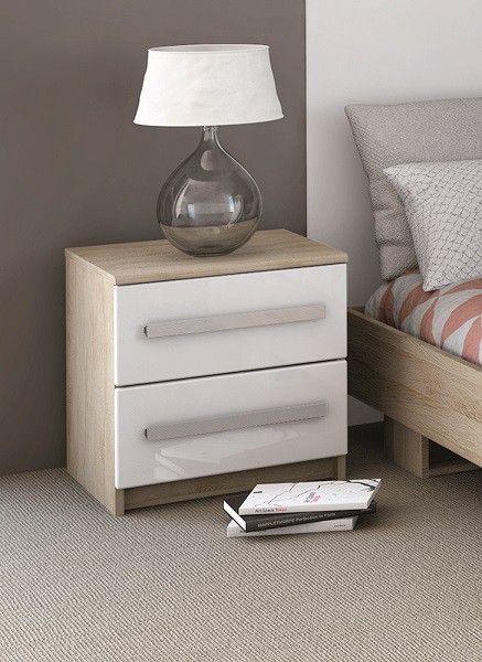 Chevet 2 tiroirs imitation chêne brossé blanc anaïs chevet décochambre chambrecontemporaine