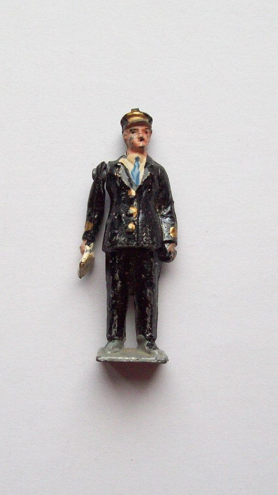 Vintage CS France Conductor/Railroad Worker Man Miniature Lead Figure with Swing Arm - Old - Soldier?
