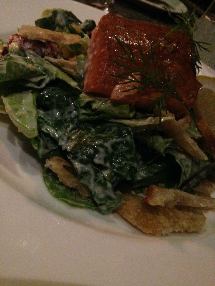 Salmon Caesar salad.