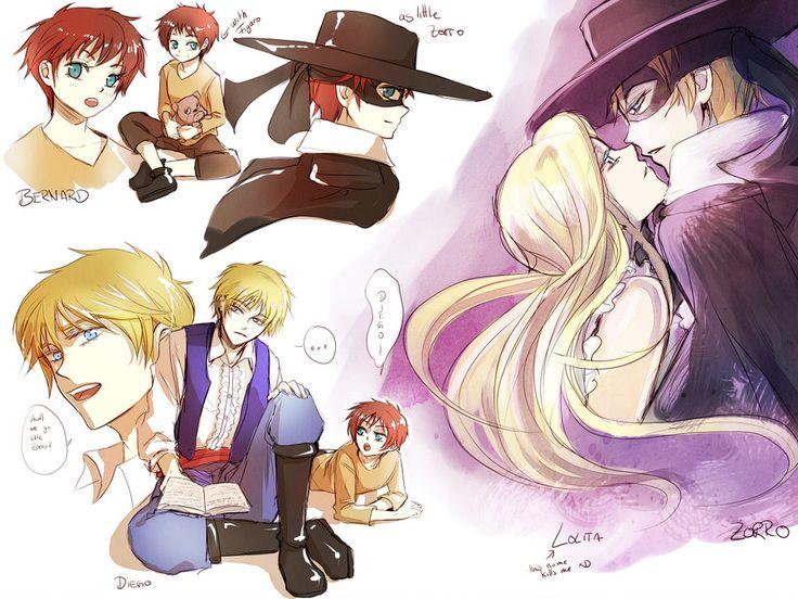 zorro cast  manga style