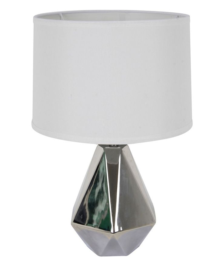 Beacon Lighting - Audrey 1 light table lamp in silver with white shade