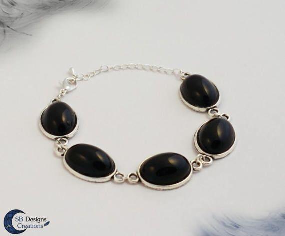 Agate bracelet Black agate bracelet Gothic bracelet Gemstone bracelet Black bracelet Black jewelry Witch bracelet Dark style bracelet