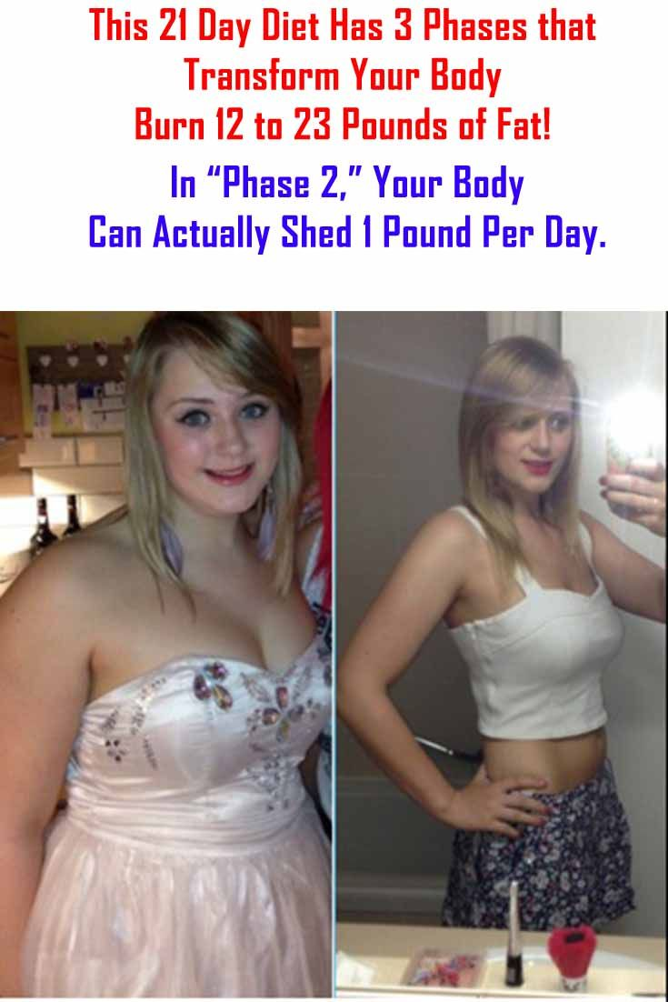 "This 21 Day Diet Has 3 Phases that Transform Your Body - Burn 12 to 23 Pounds of Fat! In ""Phase 2,"" Your Body Can Actually Shed 1 Pound Per Day. #body #goal #fitness #transformation #workout #fattofit"