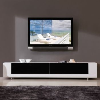 B Modern Editor 79 Contemporary TV Stand In High Gloss White Lacquer 2 Drawer Front