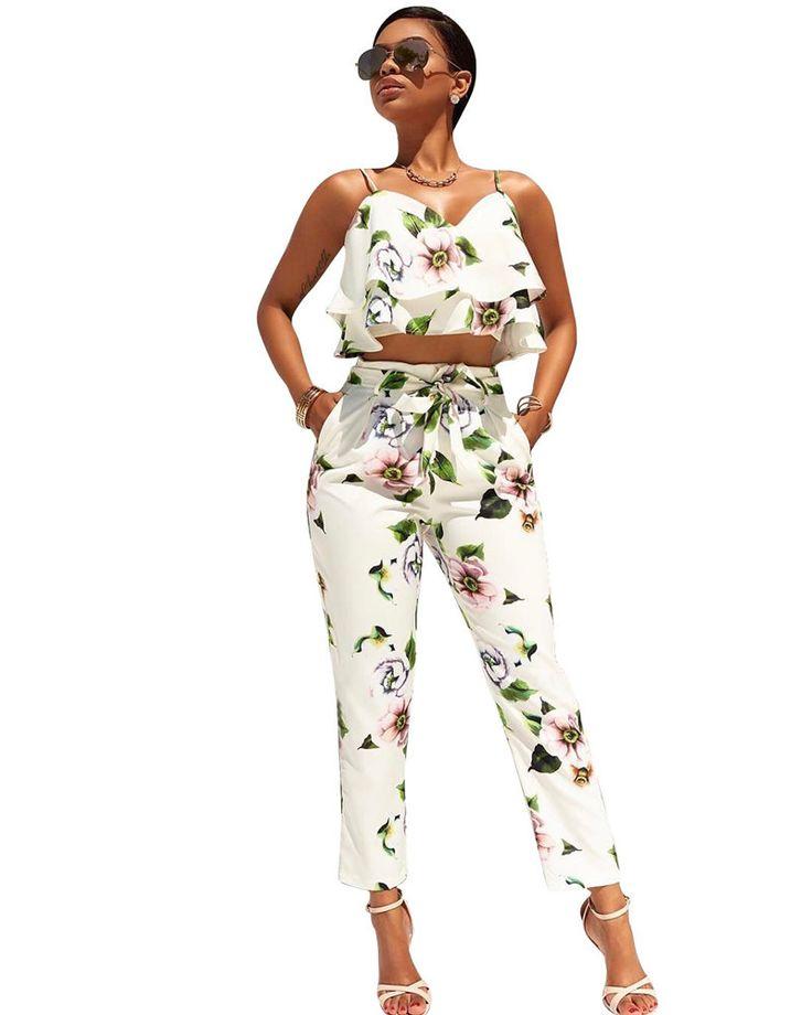 (A). Floral Crop Tops Pants Set Suit