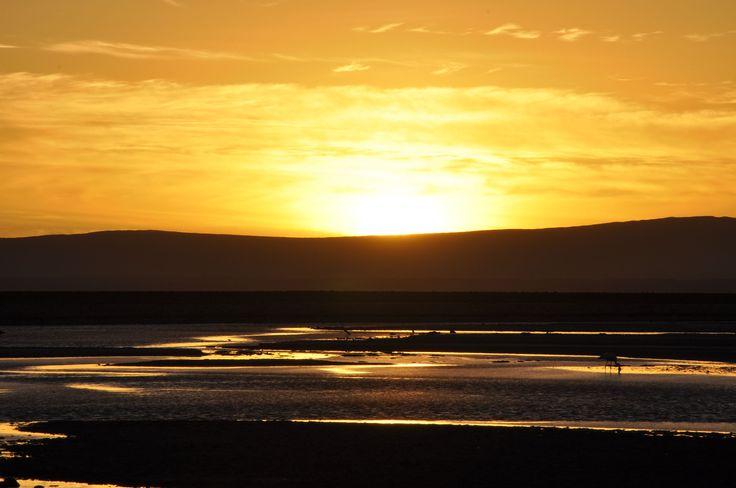Amazing sunset at El Salar of Atacama