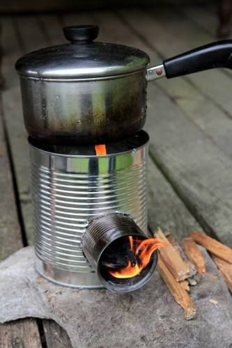 How to Build A Rocket Stove For Cooking: http://logcabincooking.com/hobo-tin-can-portable-rocket-stove-class/