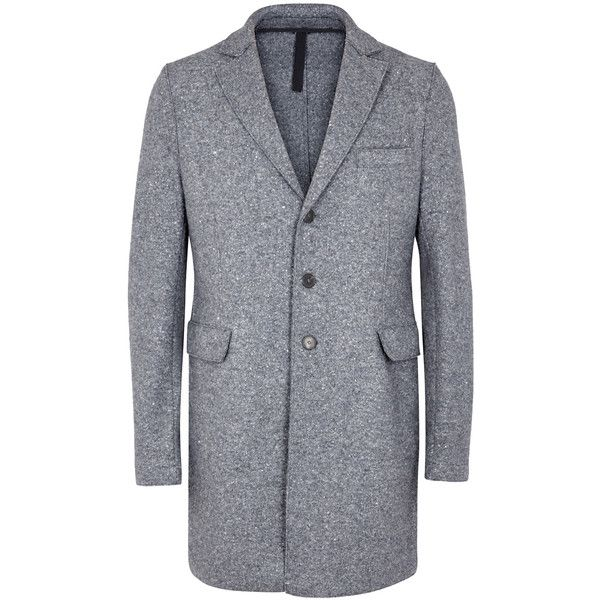Harris Wharf London Chester flecked grey wool coat (€640) ❤ liked on Polyvore featuring men's fashion, men's clothing, men's outerwear, men's coats, mens grey wool coat, mens grey coat, mens wool coat, mens gray pea coat and mens gray wool coat