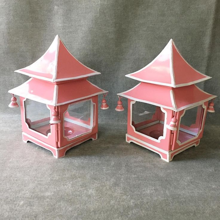 """123 Likes, 19 Comments - Parker Kennedy • The Cellar (@pklthecellar) on Instagram: """"#82 pair of pink & white pagoda mini lanterns $60 pair plus $28 shipping.. some age on the finish…"""""""