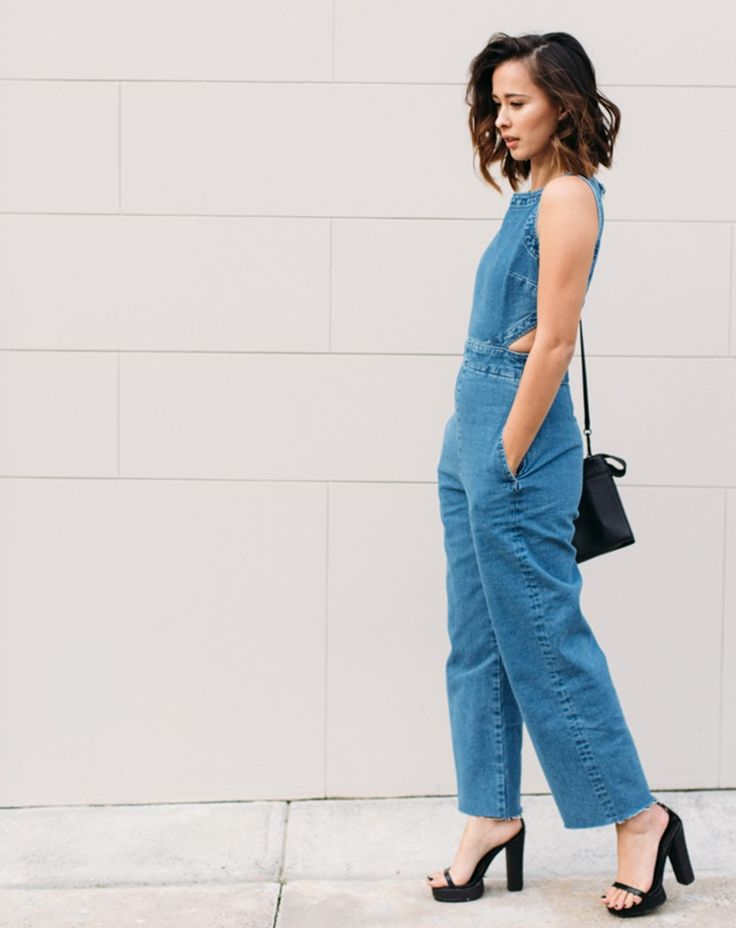 Eleanor Pendleton Wears ASOS Blue Denim Cut Out Jumpsuit And Black Platform Heels. | Celebrities ...