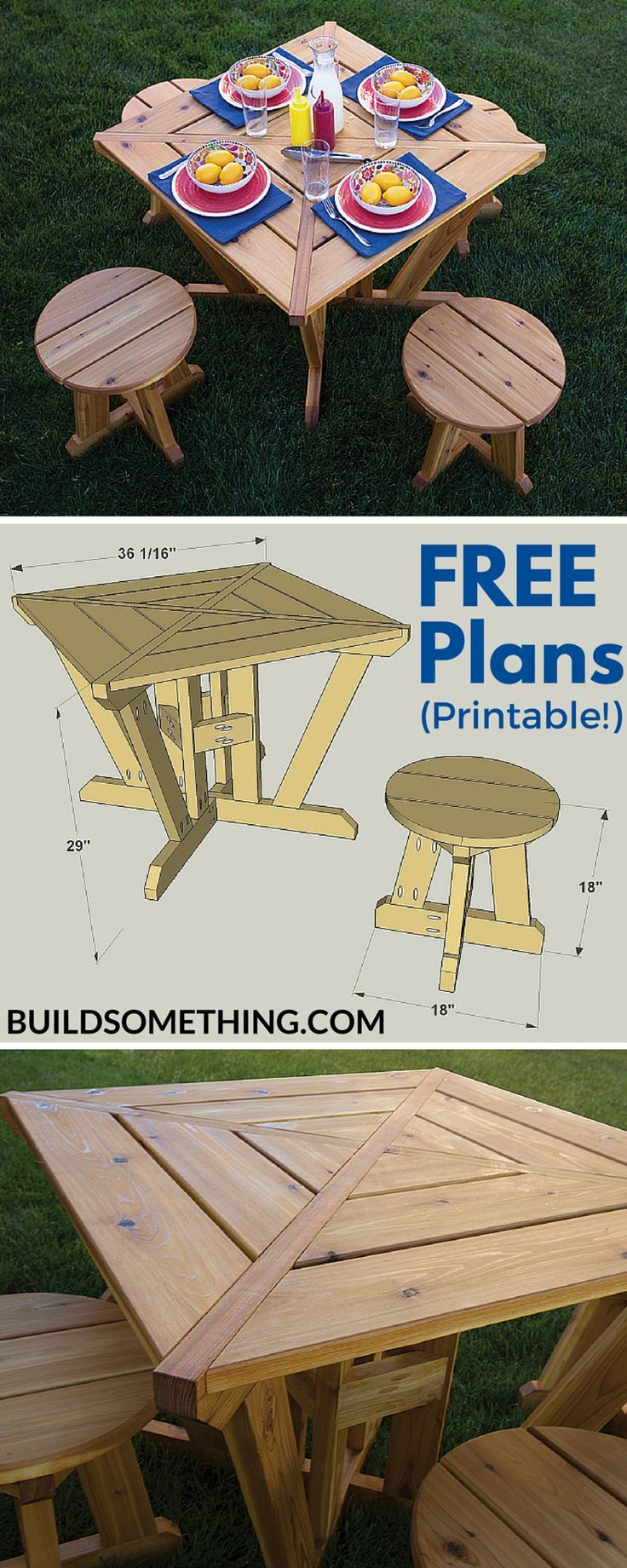 Here's a different twist on the traditional picnic table. It's perfect for smaller spaces or if you don't need to seat more than four people. The table and stools both have a unique look that you won't find in stores, and they're made from cedar, which means they'll last a long time outdoors. Get the free printable plans at http://buildsomething.com
