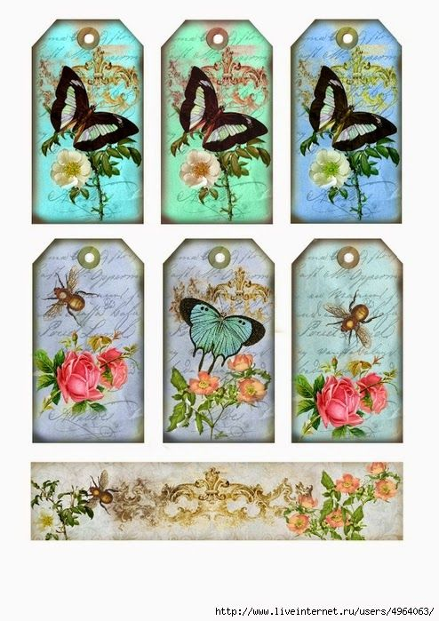 Retro Tags with Flowers and Butterflies.