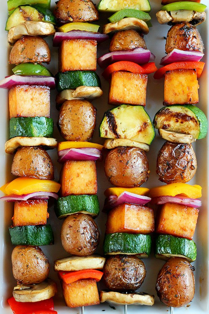 Grilled Veggie Potato Skewers - ilovevegan.com zucchini, red pepper, mushrooms, tofu, potatoes, barbecue sauce
