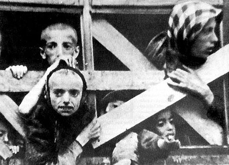 Deportation of Jewish children from the Warsaw Ghetto to the death camp. They will die by gas, with strangers and other children from transports. The fear thye must have gone through is unimaginable.