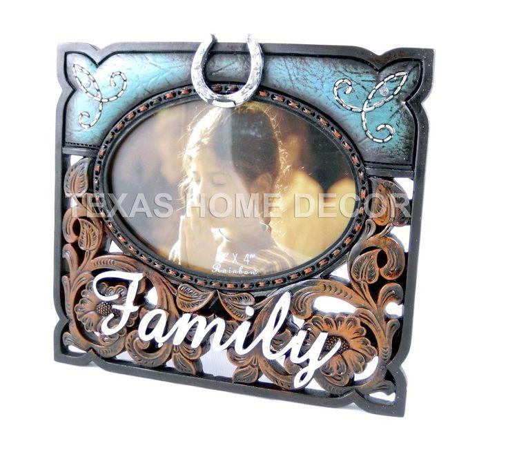 Western Rustic Family Picture Frame Floral Horseshoe Rhinestones Turquoise  #Southwestern