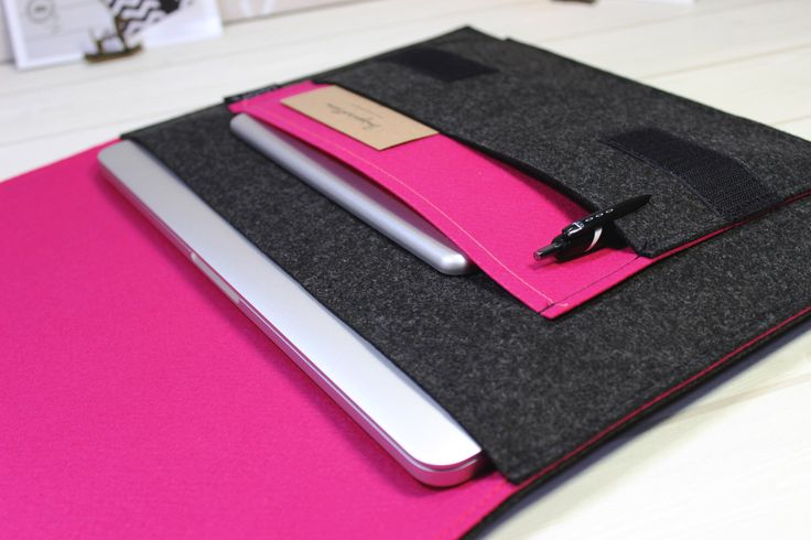13 inch Felt Laptop Sleeve, Macbook Air Case, Macbook Pro Sleeve, Macbook Pro Retina Cover, Hot Pink Laptop Case, Melange Black Case by LOONdesigns on Etsy https://www.etsy.com/listing/260843740/13-inch-felt-laptop-sleeve-macbook-air
