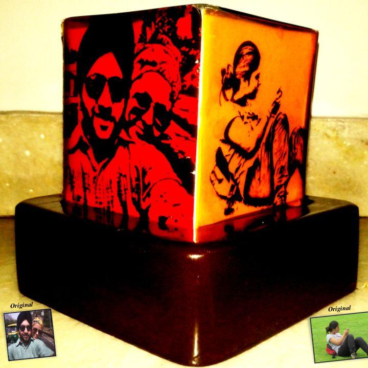 Desk Lamp at Handmade Junction - Desk Lamp | Personalized Lamp | Sketch Photos |