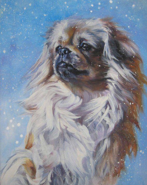 Pekingese Art Print Signed by Artist Ron Krajewski Painting 8x10 Dog