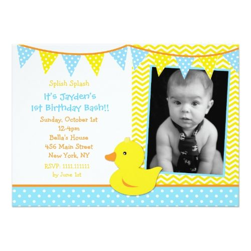 Rubber Ducky Duck Photo Birthday Party Invitations