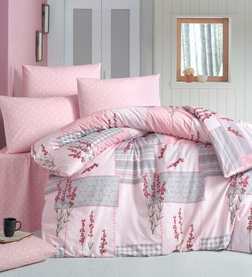 Lenjerie de pat din bumbac Valentini Bianco VKR10 Pudra