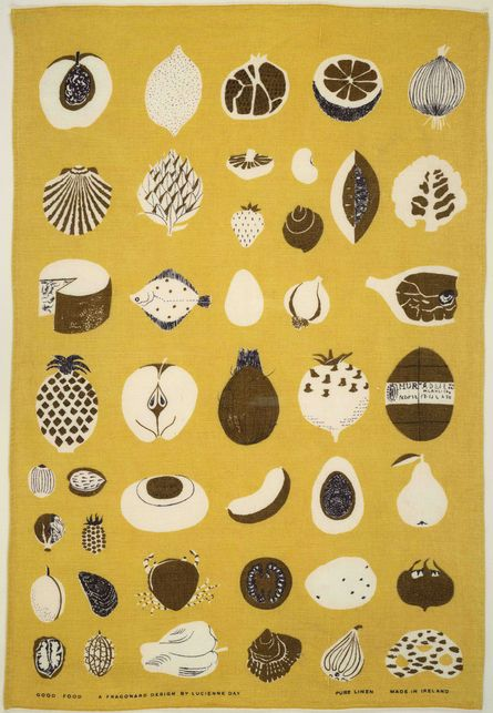 mid-century, lucienne day, pattern, print, illustration, food, drawing, yellow, texture, 1950s