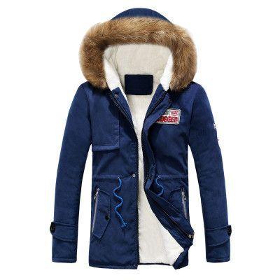 Mens Jacket Parka Thick Warm Fur Collar Long Cotton Jacket Men Comfortable Cotton Hooded Parka Men