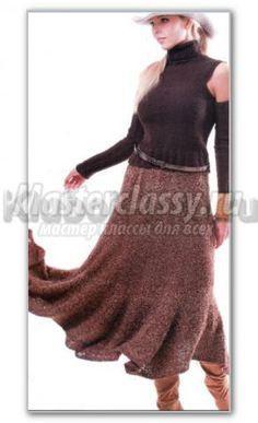 вязание спицами однотонная длинная юбка-годе схема и описание