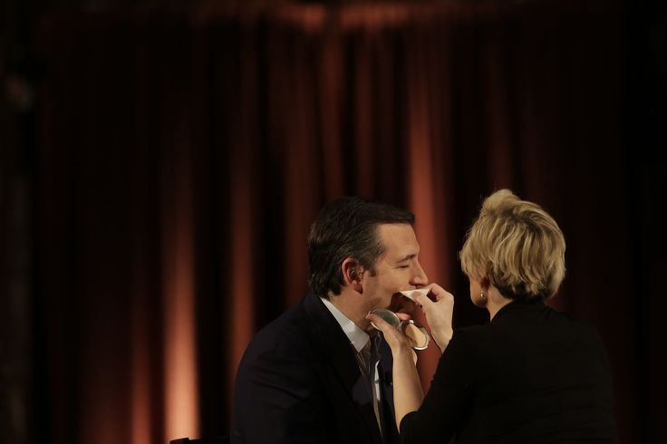 Senator Ted Cruz was dabbed with makeup during a break at an interview with Megyn Kelly of Fox News at the Madison Masonic Center in Madison, Wis., on Monday. He won the Republican presidential primary the next day.