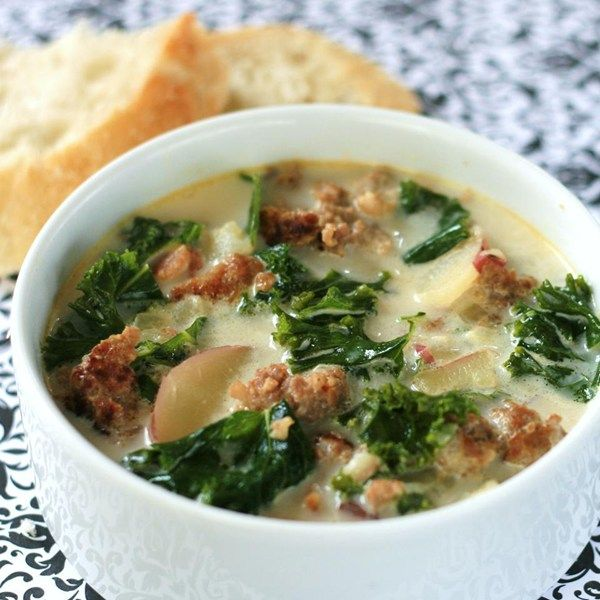 "Super-Delicious Zuppa Toscana | ""I can't get enough of this soup! I tweaked it by leaving out the bacon and using kale instead of spinach (the famous restaurant uses kale)."""