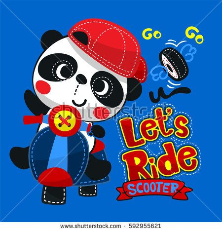 Cute panda boy wearing red hat on scooter isolated on blue background illustration vector.