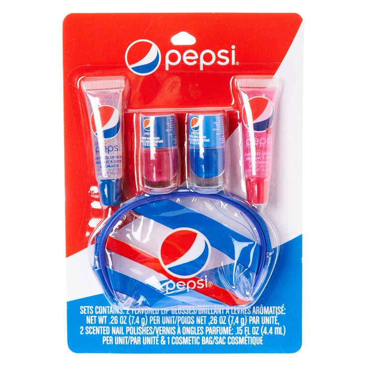 <P>Can't get enough Pepsi? Now you can with this Pepsi flavored and scented beauty products. Set contains 2 flavored lip glosses, 2 scented nail polishes and 1 cosmetic bag.</P><UL><LI>Red and blue <LI>Pepsi flavored and scented <LI>Contains 2 flavored lip glosses, 2 scented nail polishes and 1 cosmetic bag.<LI>This item is only available in-store for our Canadian customers</LI></UL><UL></UL>