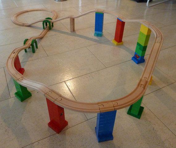 DUPLO BRIO Wooden Train Track Adapter 4 Set by WoodpeckersCH