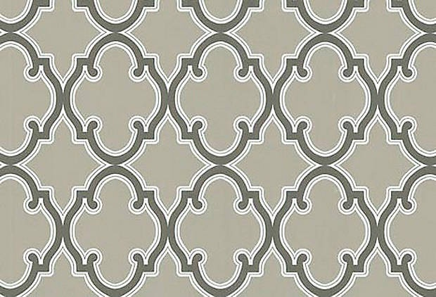"""Kenneth James """"Moroccan Gothic Grate"""" wallpaper. Love this for an entryway."""