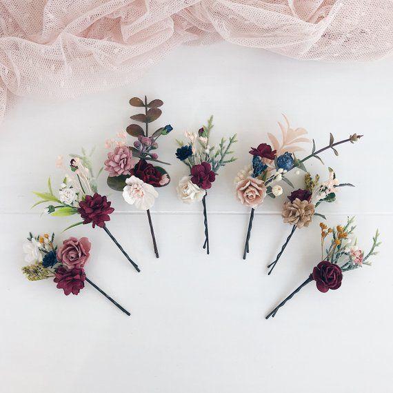 Navy blue orange red pink wedding set flower hair pins boutonniere hair comb corsage bouquet