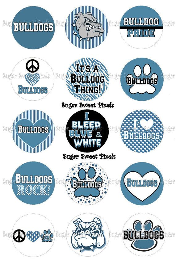 INSTANT DOWNLOAD Columbia Blue Bulldogs School by sugarnspicebow, $1.80