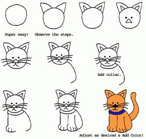 Drawing Cats|A Sitting Cartoon Cat|A 9 step tutorial teaching you how To Draw a sitting Cartoon cat.|howtodrawcartoonsnow.com|-- This is a pretty simple and straight forward picture tutorial that is easy to follow and in the end you get a cute little kitty. The site doesn't work but I found that the pictures were enough to Draw this cat.