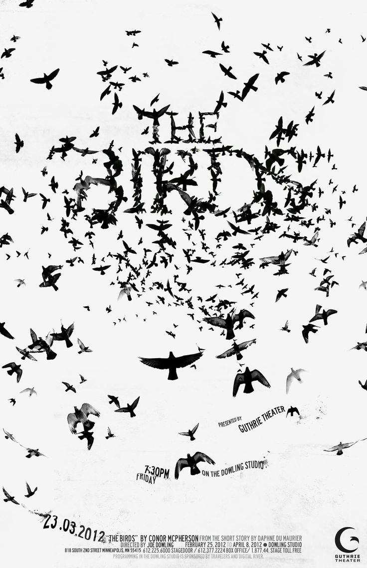 Design by ahlmkim02    this was for my school project, making a poster for a local theater!    obviously inspired by Alfred Hitchcock, but the poster was for the original screenplay 'The Birds'  뭉쳐있는 새들을 이용하여 글씨를 표현한것이 절묘하고 조화롭다. 타이포도 어울리며 흑백대비가 인상적인 것 같다.