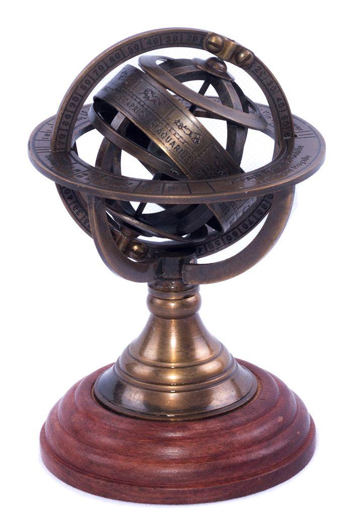 Sphère armillaire laiton et bois astrologie steampunk globe
