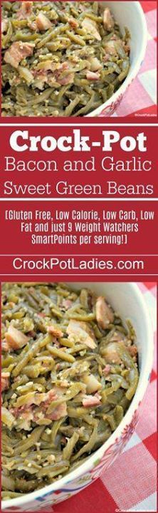 Crock-Pot Bacon and Crock-Pot Bacon and Garlic Sweet Green Beans - A perfect side dish for any meal or special occasion (think Christmas Thanksgiving Easter) these Crock-Pot Bacon and Garlic Sweet Green Beans will make you drool! The green beans are seasoned to perfection with bacon and garlic and then a little touch of sweetness happens with some brown sugar. Amazing! [Gluten Free Low Calorie Low Carb Low Fat and just 9 Weight Watchers SmartPoints per serving!] | CrockPotLadies.com Recipe…