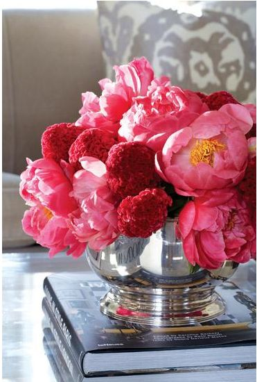 In Good Taste: Sam Allen - Design Chic - beautiful flower arrangement of peonies for the living room coffee table!