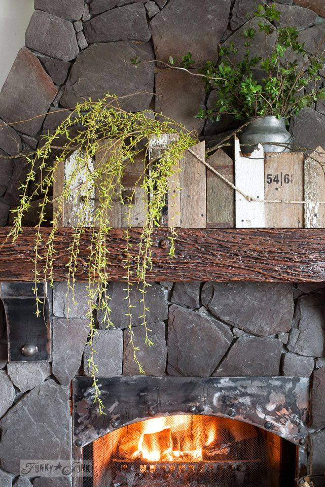 Mantel decorating with a reclaimed scrap wood window box filled with willow tree and honey suckle branches / funkyjunkinteriors.net