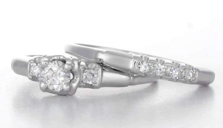 1950's Granat Brothers Vintage Diamond Engagement and Wedding Ring Set in 18 Karat White Gold